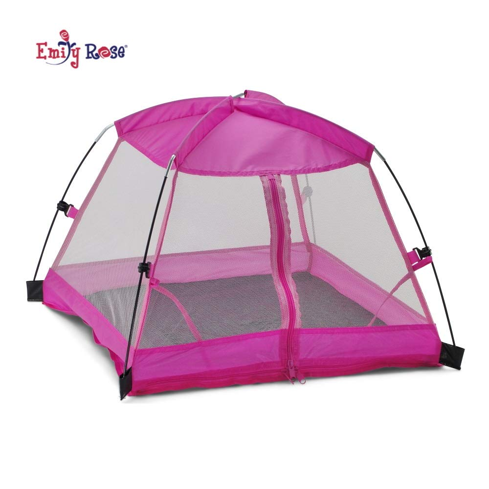 "Emily Rose 14 Inch Doll Accessories | Amazing Pink Dining Canopy Doll Camping Tent, Includes Matching Carry Case | Fits 14"" American Girl Wellie Wishers Dolls"