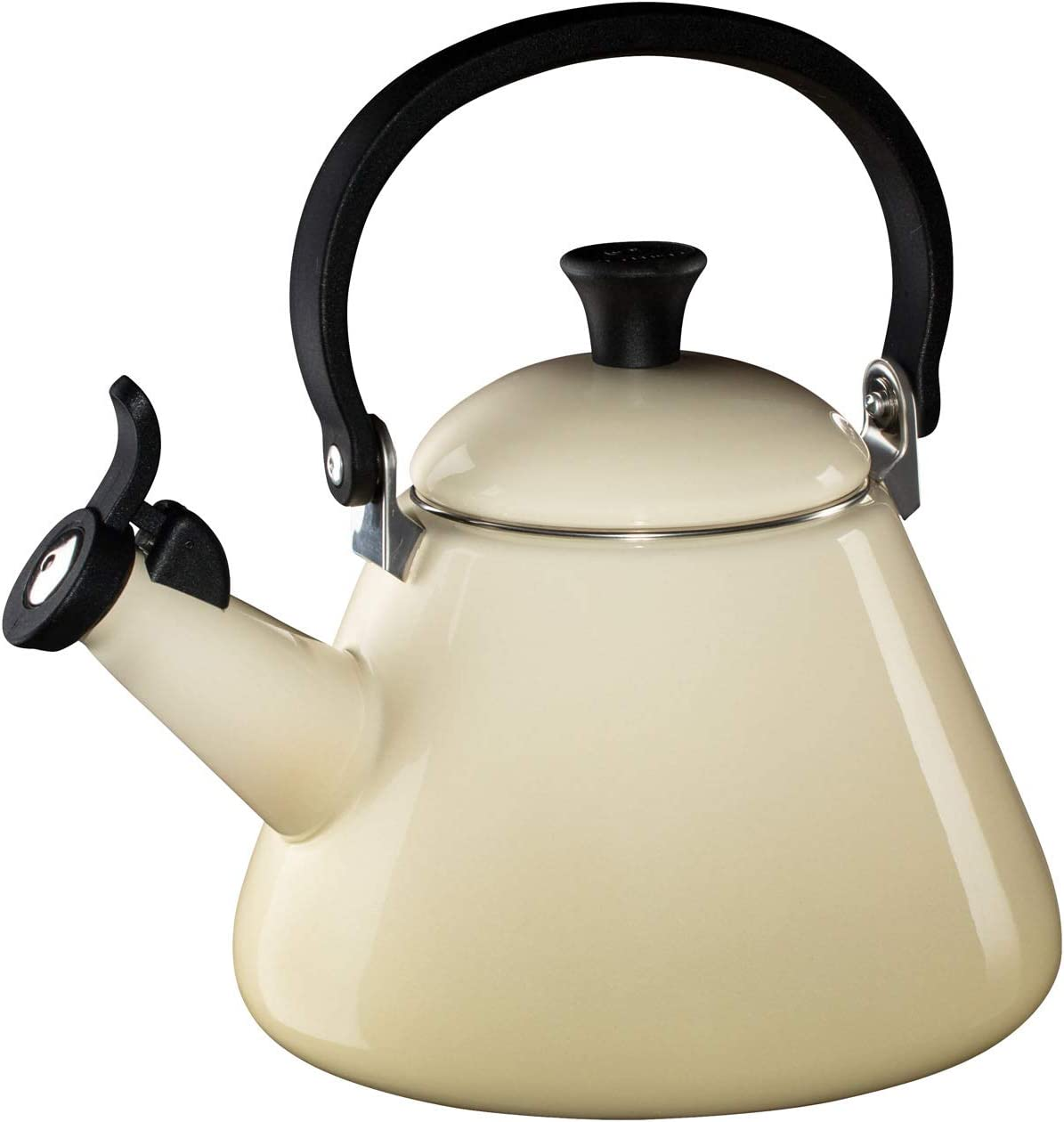 Le Creuset Kone Stove Top Kettle with Whistle, Suitable for All Hob Types Including Induction and Cast Iron, Enamelled Steel, Capacity: 1.6 L, Almond,