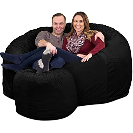 Astonishing Ultimate Sack 6000 Bean Bag Chair W Footstool Giant Foam Filled Furniture Machine Washable Covers Double Stitched Seams Durable Inner Liner And Andrewgaddart Wooden Chair Designs For Living Room Andrewgaddartcom