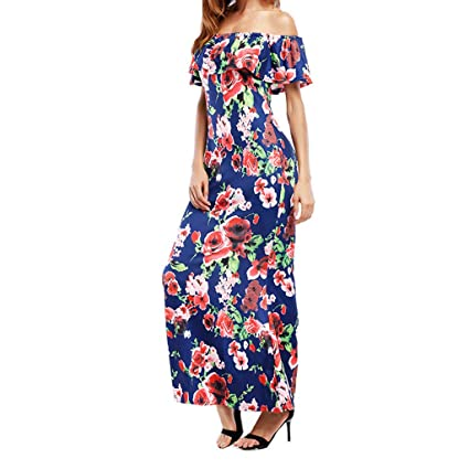 7c8c3b574ab0e Twinsmall Vintage Ruffle Plain Floral Printed Off Shoulder Bodycon Long Party  Maxi Dress (Multicolor 1