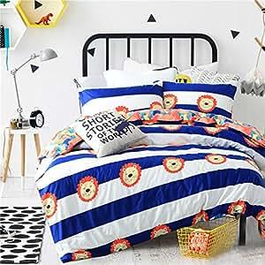 Simple Plaid cotton set of four student hostels for single cotton men's dark bedding,Full,5