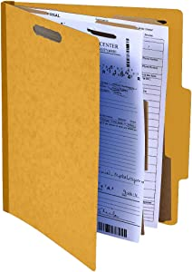 """Pack of 10 Classification Folders w/ 2 Dividers - 6 Sections File Folder w/ 2"""" Expansion for Letter Size Paper 2 Prongs Pressboard Organizer for Law Client Files, Medical Files, Office Reports"""