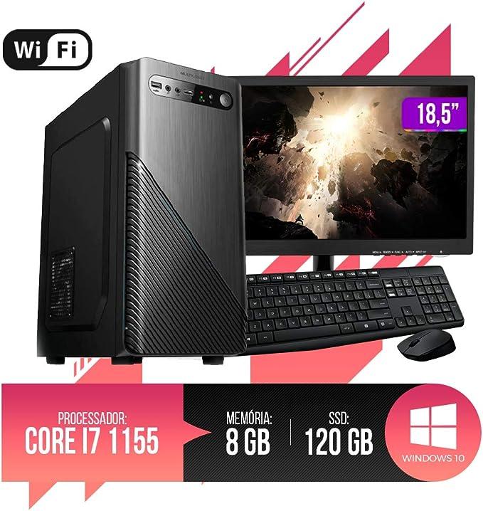 """PC Completo Intel Core i7, 8GB Ram, HD SSD 120GB, Monitor 18,5"""" LED, Wi-fi, Teclado e Mouse por Chip7 Informática"""