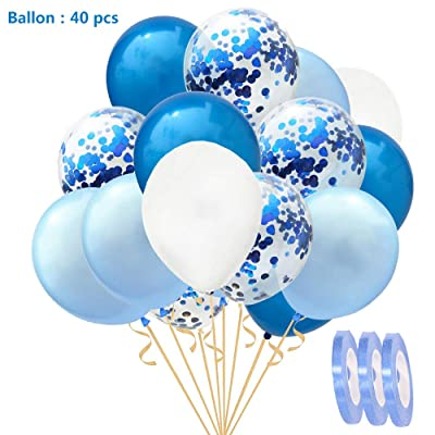 """Conjunto de globos de confeti de 40 piezas Azul blanco azul claro, 12""""Helio globos de látex para cumpleaños de boda Baby Shower Día de San Valentín,regalos de novia de Decoración fiesta de bautizo: Juguetes y juegos"""