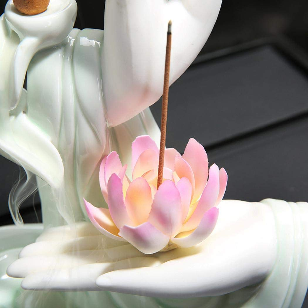 Pink White Lotus Incense Burner Backflow Incense Holder, Ceramic Handcrafted Backflow Incense Burner with 10PCS Incense Cones for Home Decor Yoga (Pink Lotus 01) by HEASEA (Image #2)