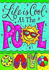 """uoopoo """"la vida es Cool en la piscina""""–Verano decorativa jardín bandera doble cara casa bandera 12,5x 18cm poliéster banderas Fade y resistente al moho impermeable para exterior"""