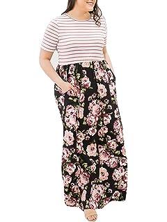 0aeab9849ac Rotita Women Striped Floral Plus Size Maxi Dress Empire Waist Short Sleeve  Long Dresses with Pocket