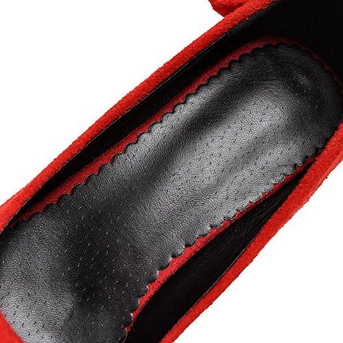 AllhqFashion Damen Hoher Absatz Mattglasbirne Rein Ziehen auf Spitz Zehe Pumps Schuhe Rot
