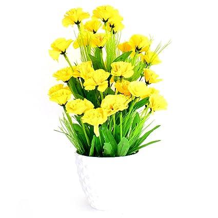 Buy ashiyanadecors yellow carnation flower basket for home office ashiyanadecors yellow carnation flower basket for home office kitchen and wedding decor mightylinksfo