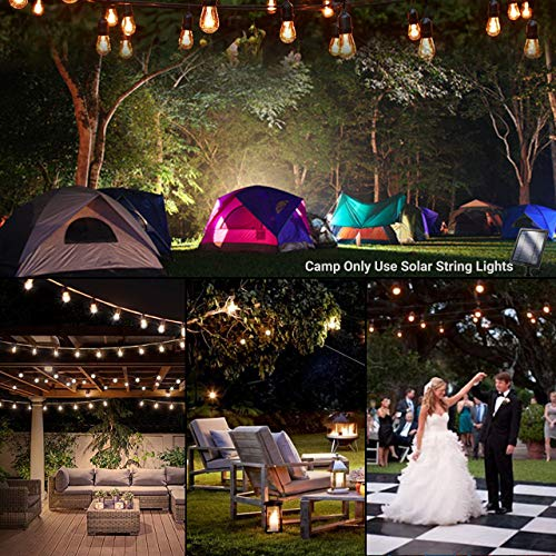 Fule Solar Outdoor String Lights,Heavy Duty S14 LED String Light 48FT,15 Hanging Sockets,1W Plastic Vantage Bulbs,Create Ambiance for Backyard Party Decoration/Cafe/Garden/Patio by Fule (Image #4)