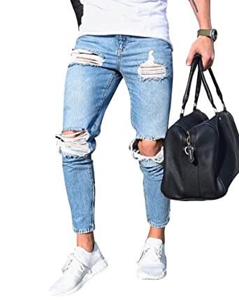 9ec1b5b96f8ae Homme Skinny Trou Biker Jeans Déchiré Styles Denim Slim Fit Serré Pantalon   Amazon.fr  Vêtements et accessoires