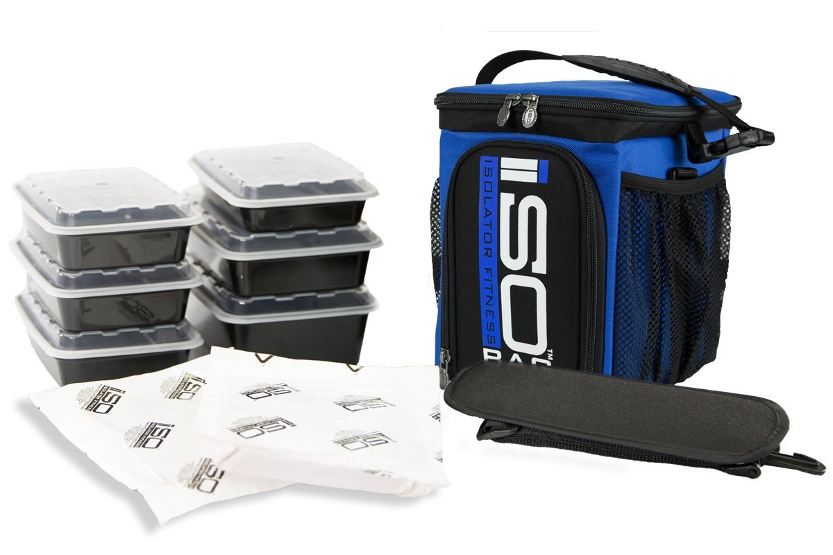 Isolator Fitness 3 Meal ISOCUBE Meal Prep Management Insulated Lunch Bag Cooler with 6 Stackable Meal Prep Containers, 2 ISOBRICKS, and Shoulder Strap - MADE IN USA (Blue)