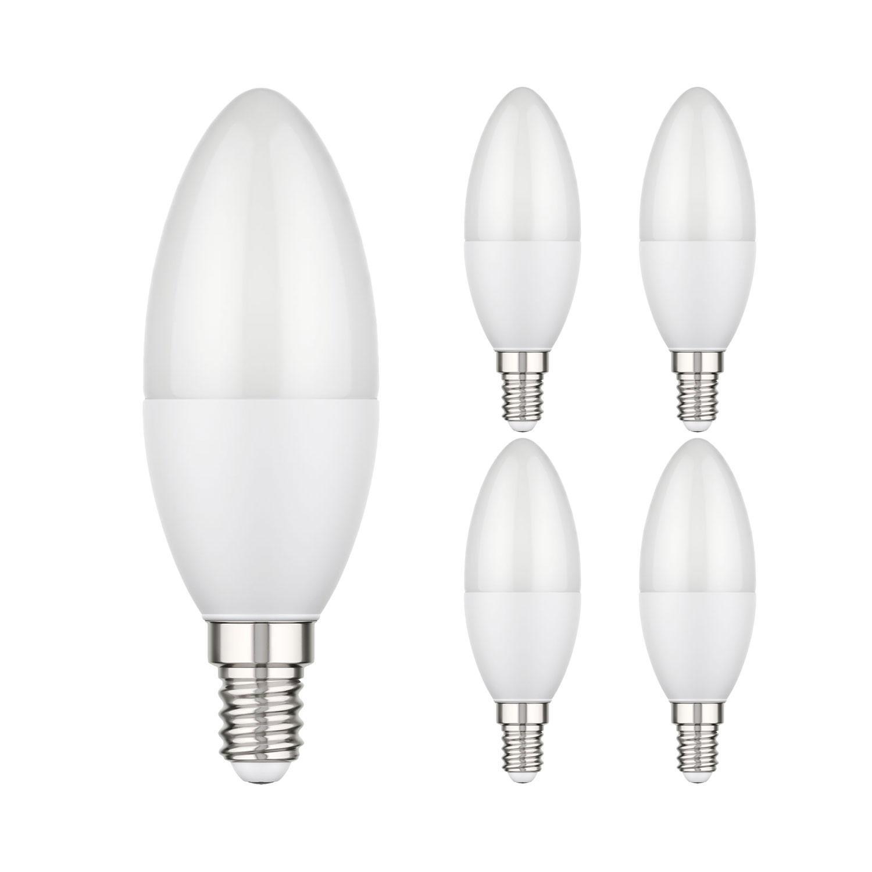 5 Stk LC-SS-542-W-x5 parlat E14 LED Kerzenlampe 3,8W =29W 300lm 270° weiß