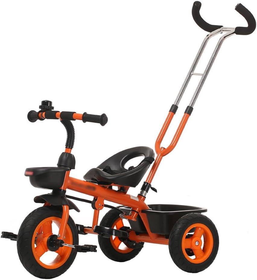 XXW Cochecito De Bebé Triciclo para niños 18 Meses-6 años de Edad Push Ride Pedal Infantil de Doble Uso Trike Bike Empuñadura Desmontable Empuñadura Baby Carro (Color : Orange)