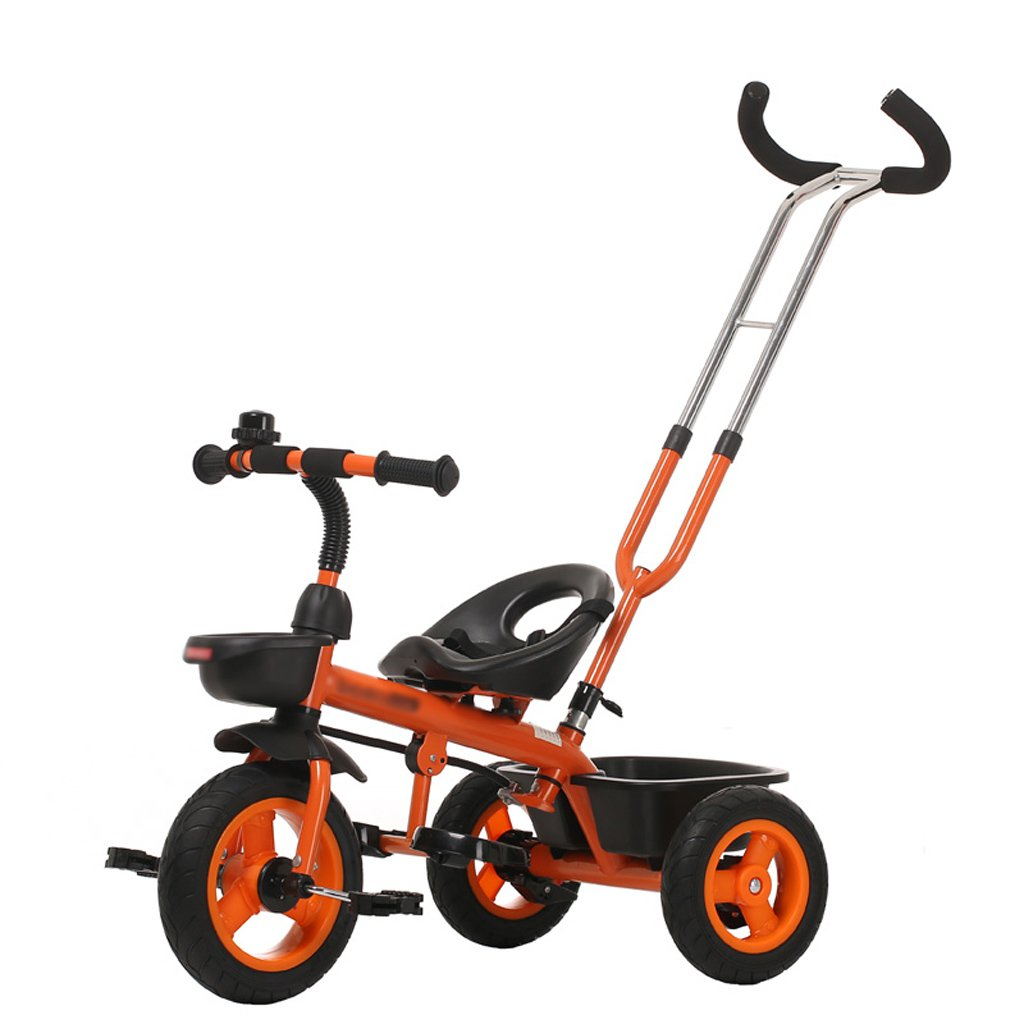 Strollers Baby Child Tricycle 18 Months-6 Years Old Push Ride Dual-use Child Pedal Trike Bike Detachable Push Handle Baby Stroller (Color : Orange)