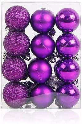 Ocamo 3CM 24pcs Christmas Xmas Tree Party Ball Hanging Ball for Christmas Party Decoration Purple