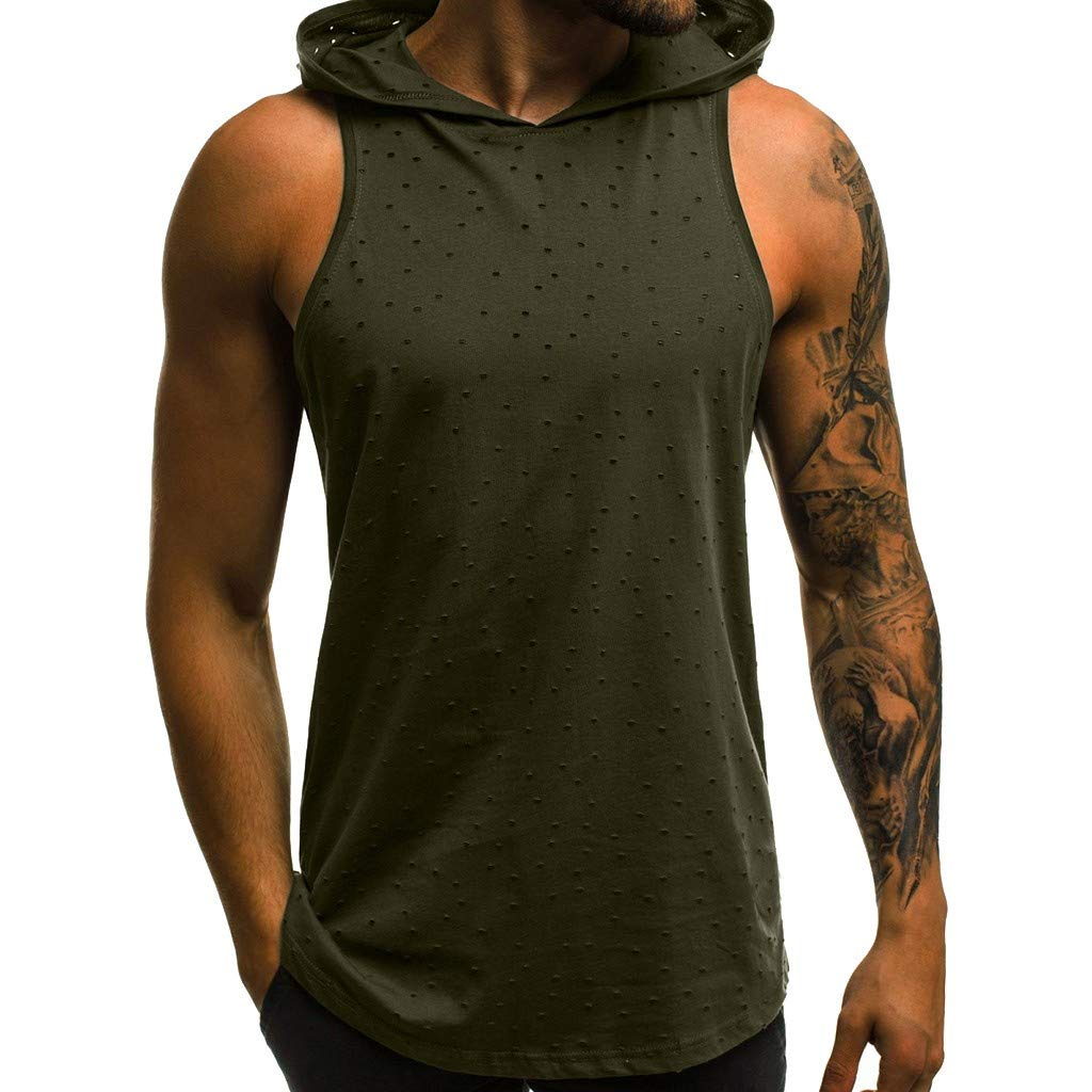Men Sleeveless Hooded Vest Tank Summer Letter Printed Slim Blouse Fitness Muscle Hole Tight-Drying Tops