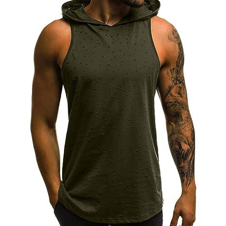 HWTOP Herren Hooded Unterhemd Vest Fitness Muscle Ärmelloses Kapuzen Bodybuilding Haut Fest trocknende Oberteile