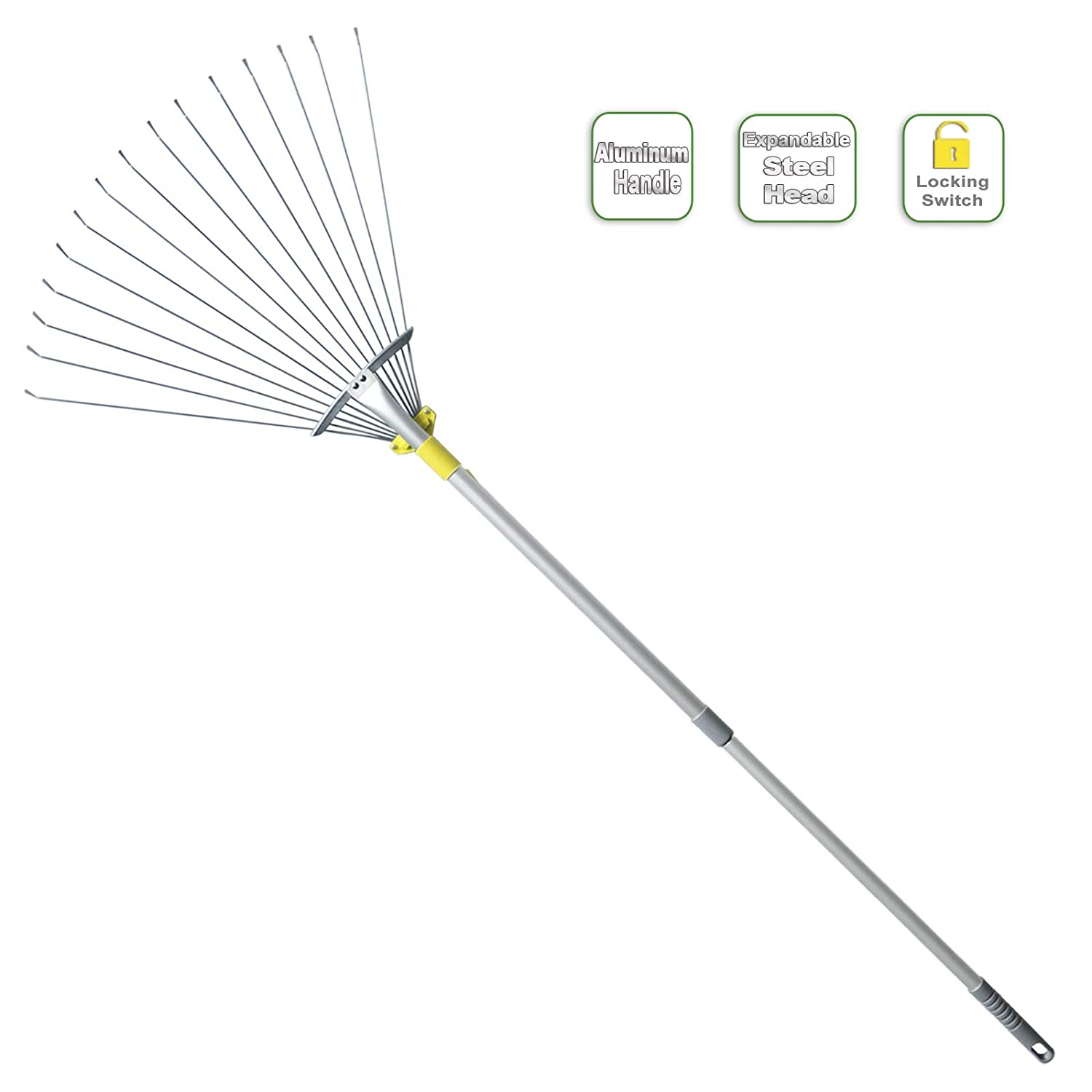 "Jardineer 63 inch Lightweight Garden Leaf Rake for Lawns, Adjustable Yard Rake for Leaves, Metal Lawn Rake with 23"" Expandable Bigger Head.Ideal Garden Tools Gifts. One Year Warranty"