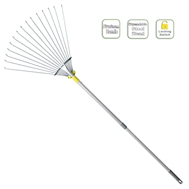 Jardineer 63 inch Adjustable Garden Leaf Rake,Collect Leaf Among Delicate Plants,Lawns and Yards.Expandable Head from 7 inch to 23 inch.Ideal Garden Tools Gifts 1 Year Warranty