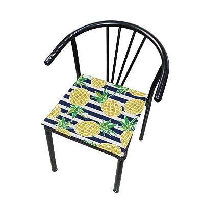 Bardic FICOO Home Patio Chair Cushion Summer Pineapple Stripe Square Cushion Non-Slip Memory Foam Outdoor Seat Cushion, 16x16 Inch: Home & Kitchen