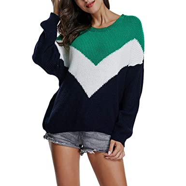560af72fc2 Cinnamou Jerséis Tumblr Mujer de Rayas Cuello de Pico Suéter de Mujer  Invierno Camiseta Amplia de Punto de Manga Larga Pullover Tops Blusa   Amazon.es  Ropa ...