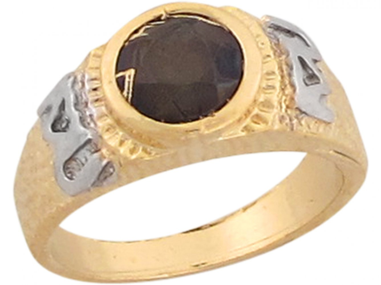 14k Two Tone Gold Black CZ I Love U Unique Aztec Design Baby Ring by Jewelry Liquidation (Image #2)