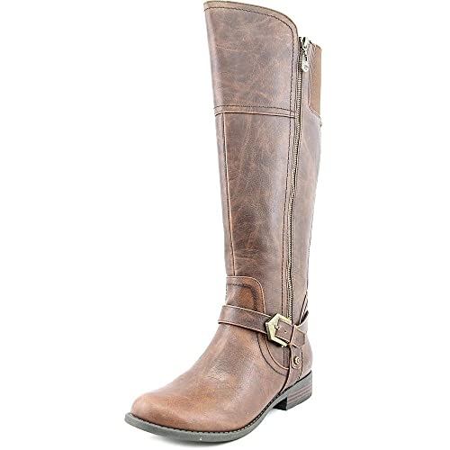 f6a0bddd750 G by Guess Womens Hailee Wide Calf Faux Leather Riding Boots