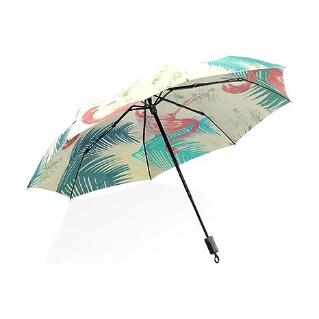 ISAOA Paraguas de Viaje automático Compacto Plegable Paraguas Lindo Flamenco Resistente al Viento Ultra Ligero UV