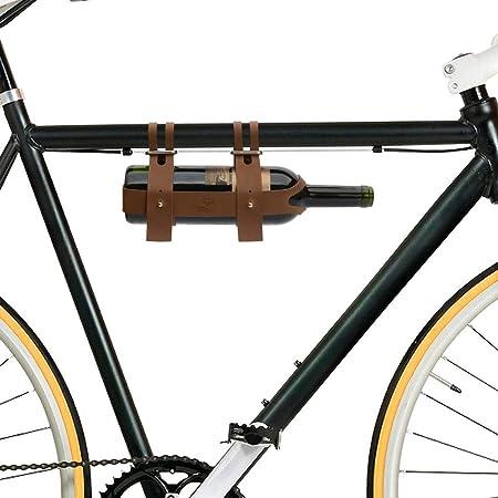 Bar Amigos - Portabidones de cuero para bicicleta, soporte para botellas de vino, ideal para ciclistas que toman vino en un picnic o viaje de un día