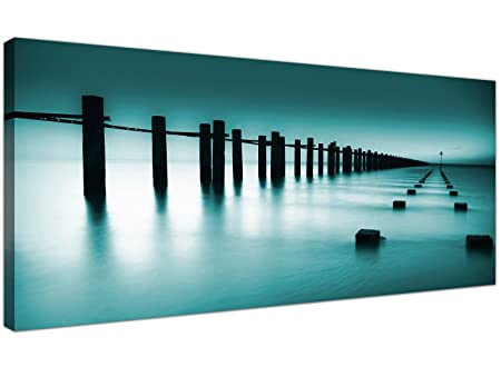 Wallfillers Cheap Teal Canvas Prints Of The Sea   Contemporary Seascape Wall  Art   1089