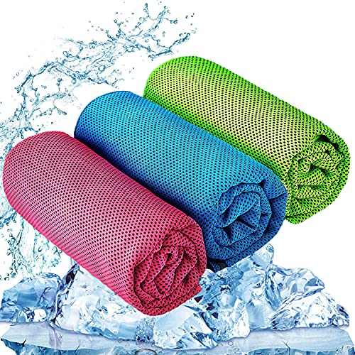 """YQXCC 3 Pcs Cooling Towel (47""""x12"""") Cool Cold Towel for Neck, Microfiber Ice Towel, Soft Breathable Chilly Towel for Yoga, Go"""
