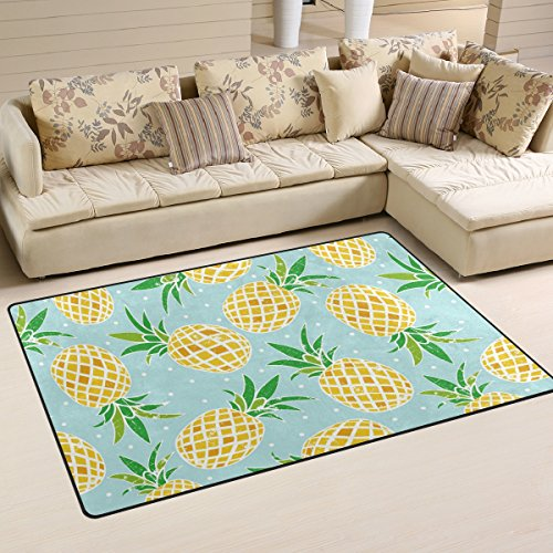 Yochoice Non-slip Area Rugs Home Decor, Vintage Retro Bright Pineapple Fruits Floor Mat Living Room Bedroom Carpets Doormats 31 x 20 inches