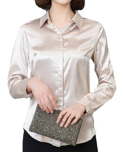 527c78629 JXG Women Classic Button-Down Shirt Satin Silk Long Sleeve Blouse Top at Amazon  Women's Clothing store: