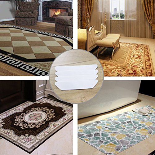 Antallcky Rug Grippers,24pcs Anti Curling and Non Slip Rug Carpet Gripper,Strong Stickiness without Hurting Floor, Stop Slipping, Reusable for Various Floors and Rug Pads-Set of 24,White by Antallcky (Image #4)