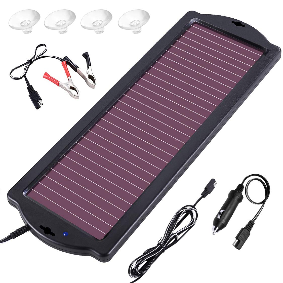 zeal life Solar car Charger 12V 1.8W Solar Battery trickle Charger Waterproof Portable Solar Panel Amorphous for Rv Motorcycle Boat Marine Vehicle Snowmobile Watercraft.