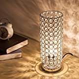 ZEEFO Crystal Table Lamp, Modern Style K9 Crystal Desk Lamp, 28 cm High Elegant Crystal Light, Compact Design Lamps Suitable for Home, Bedroom, Living Room, Dining Room (Sliver)