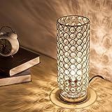 ZEEFO Crystal Table Lamp, Modern Style K9 Crystal Desk Lamp, 28 cm High Elegant Crystal Light, Compact Design Lamps Suitable for Home, Bedroom, Living Room, Dining Room (Sliver)