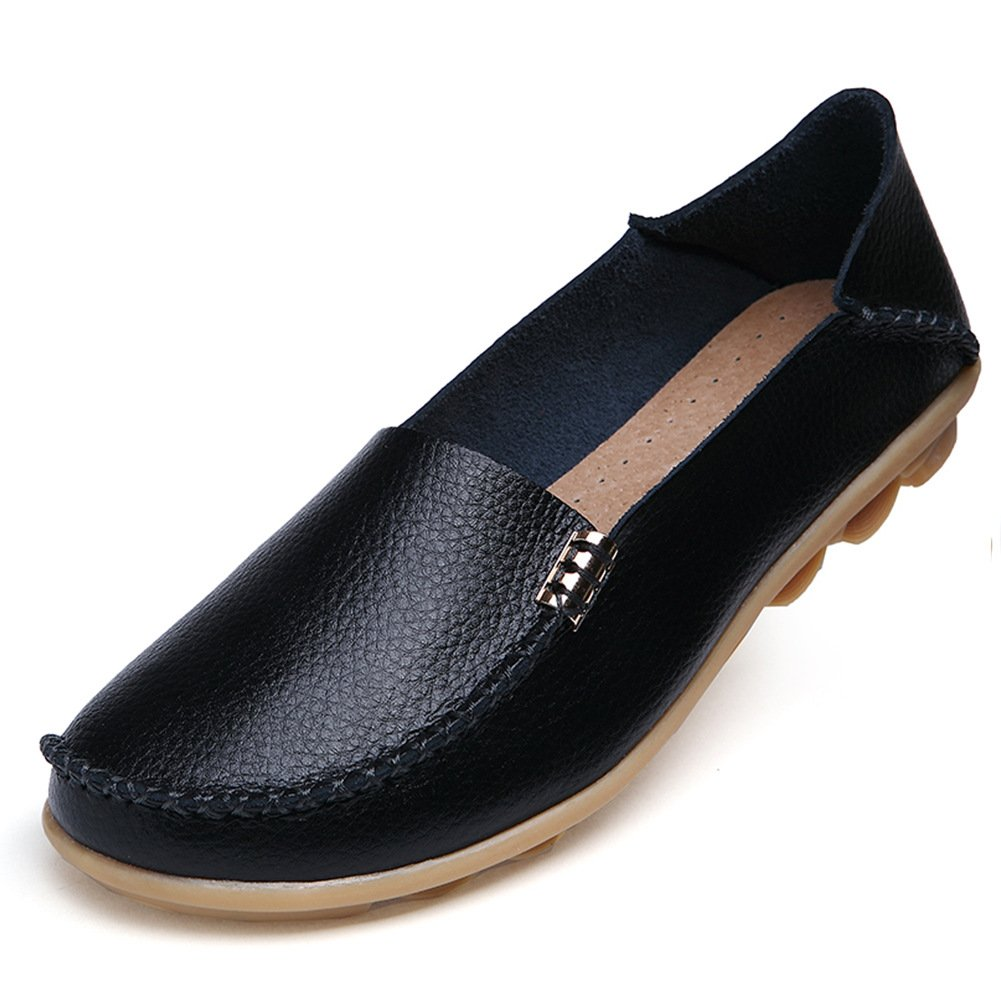 Temofon Women's Leather Loafers Casual Flats Driving Moccasins Indoor Shoes Slip-On Slippers Black 8.5