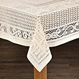 Lintex Linens Chantilly Crochet Cotton Tablecloth Imported from Spain Mocha Round