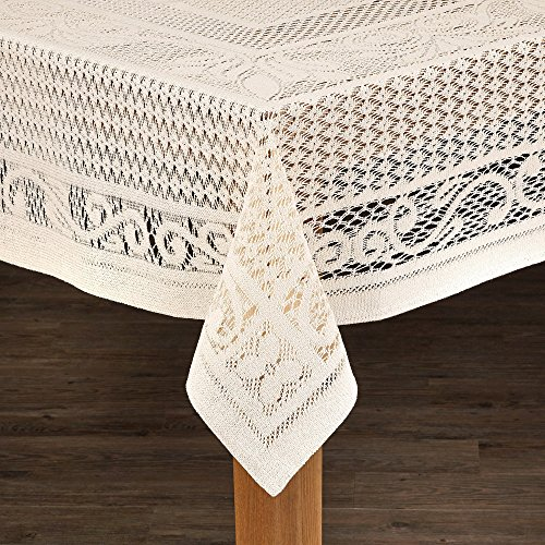 Lintex Linens Chantilly Crochet Cotton Tablecloth Imported from Spain Mocha Round by Lintex Linens