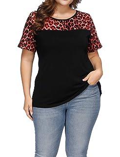 a4110111d2297 Allegrace Women s Plus Size Casual Leopard Print Patchwork Top Loose Short  Sleeve T Shirts