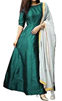 Purva Art Womens C Green Tapeta Silk Stitched Long Gown With Off White Dupatta (PA_0803_C Green_Tapeta Silk_Stitched_JFW-125)