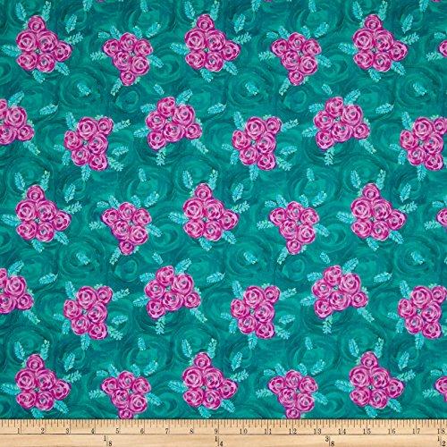 FreeSpirit Fabrics 0556112 Jennifer Paganelli Judith's Fancy Deborah Teal Fabric by The Yard