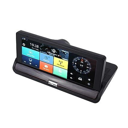 7 pulgadas Coche DVR Espejo retrovisor Doble cámara WiFi GPS ...