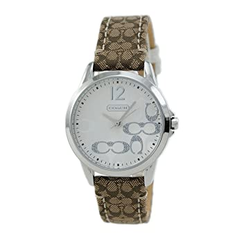 8b5de6353 Image Unavailable. Image not available for. Color: Coach Womens 14501620 Classic  Signature Strap Silver Dial Watch