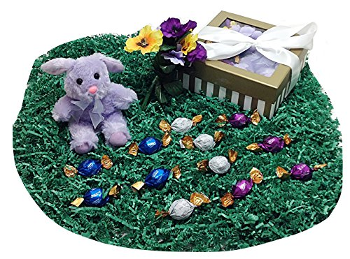 Easter or Mothers Day Gift Basket Box With Godiva Gourmet Chocolate Truffles, Spring Floral Accent & Bunny Rabbit Stuffed Animal (Godiva Spring)