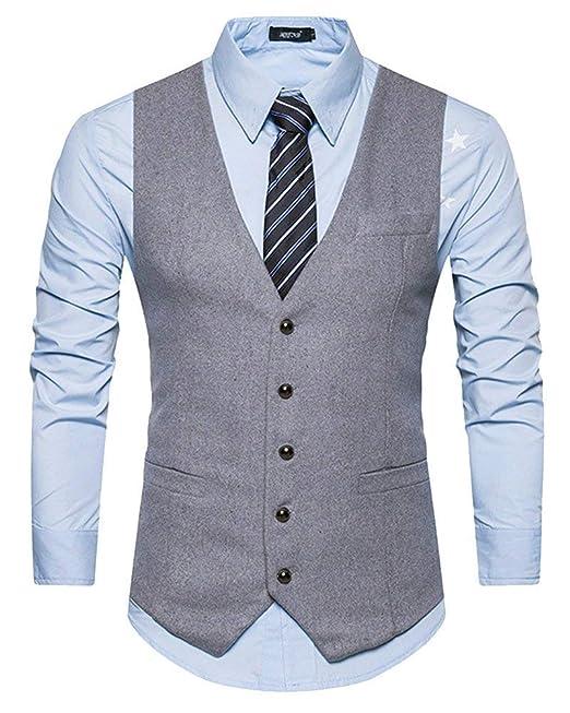 Chaleco De Color Sólido para Hombre Caballero Chaleco para Ropa Boda De  Vestir De Un Solo Pecho Básico Chaleco De Negocios 4 Botones De Corte Slim  Fit  ... 1b503dbf6af9