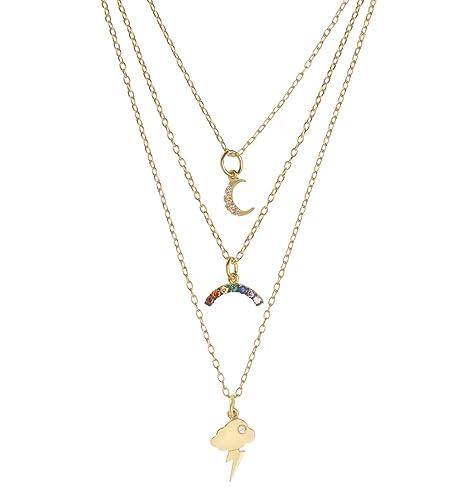 EYE M by Ileana Makri Women's Yellow Gold Plated Sterling Silver Round Multicolour Zircon Night Rainbow Necklace of 50 cm 5AThtg