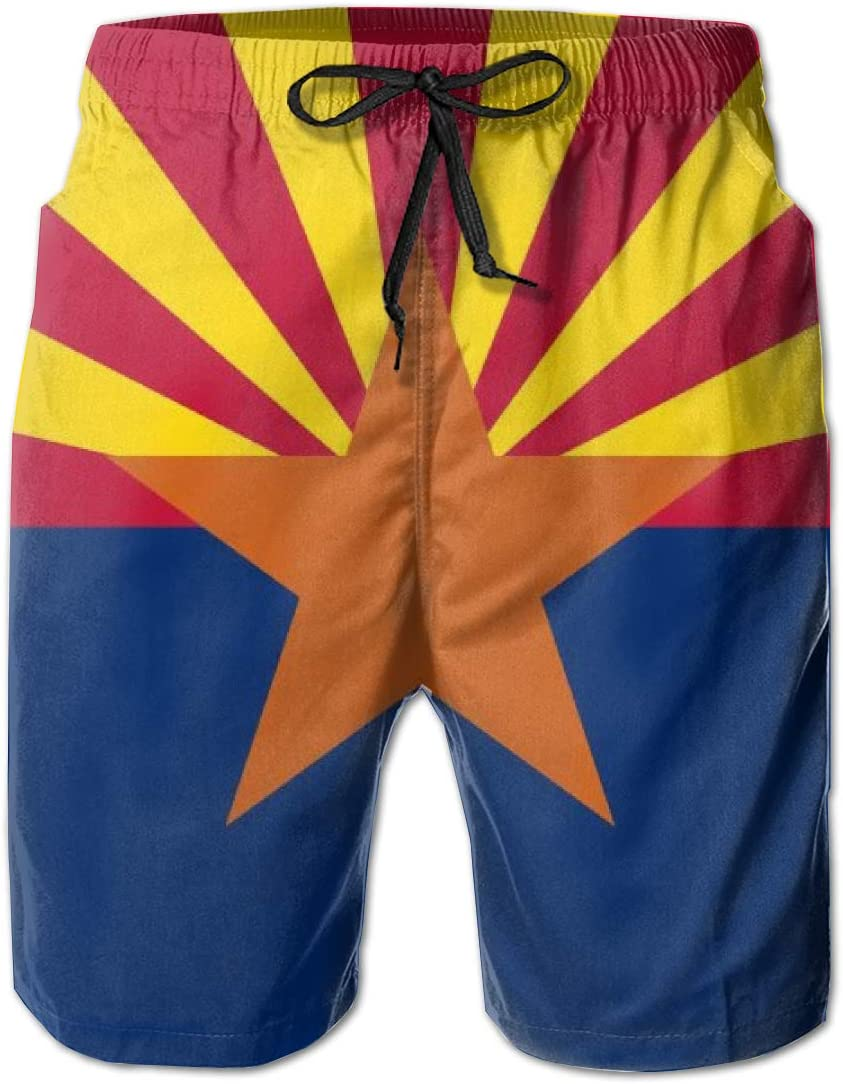 Wexzss Arizona Flag Funny Summer Quick-Drying Swim Trunks Beach Shorts Cargo Shorts